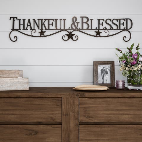 Metal Cutout-Thankful And Blessed Decorative Wall Sign-3D Word Art Lavish Home