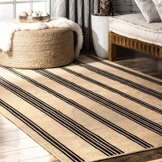 The Curated Nomad Kowolska Striped Natural Handmade Braided Jute Area Rug