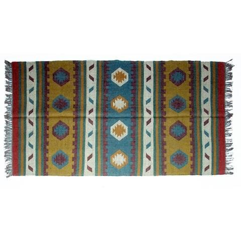 Handmade Wool Jute Kilim Rug (India) - 4'x6'