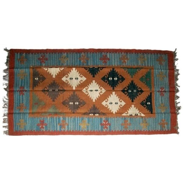 Wool Jute Kilim Rug 5'x8' - 5000R28