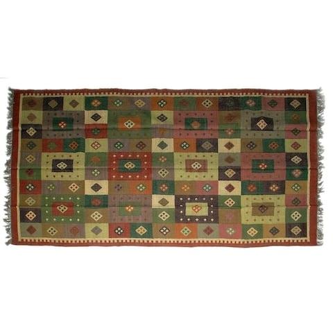 Handmade Wool Jute Kilim Rug (India) - 6'x9'