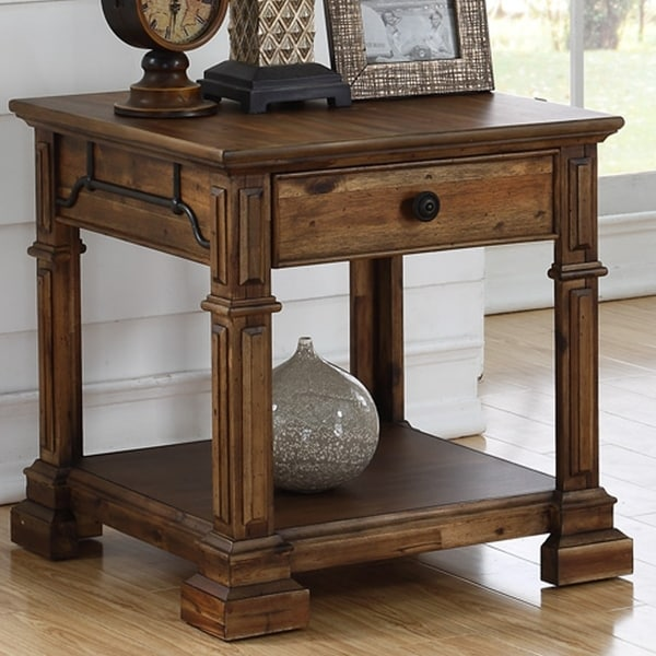 Carbon Loft Junius Acacia Rustic End Table