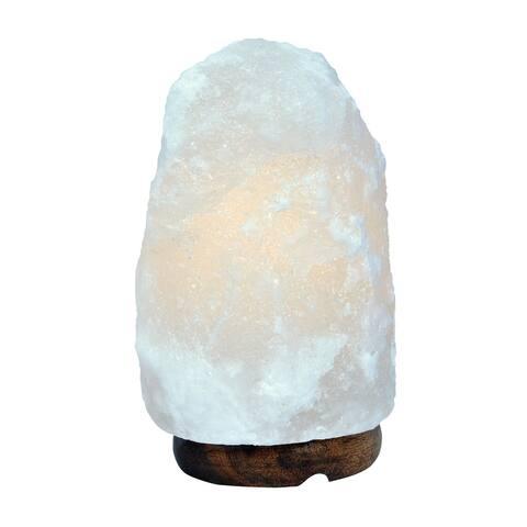 """7"""" Himalayan Salt Lamp with Wood Base, 3-5lbs."""