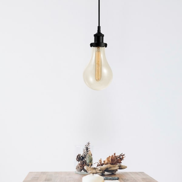 Izzy 1-Light Dark Bronze Pendant with Clear Glass Shade. Opens flyout.