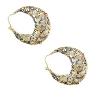 Michael Valitutti Palladium Silver Graduated Pearl & Ruby Earrings