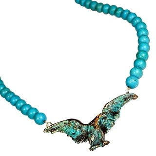 Handmade Verdigris Patina Brass Eagle Necklace - Turquoise (USA)