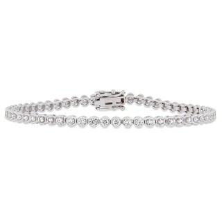 Miadora 14k White Gold 2ct TDW Diamond Tennis Bracelet