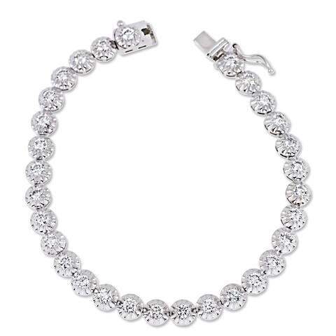 Miadora 14k White Gold 3 1/3ct TDW Diamond Tennis Bracelet