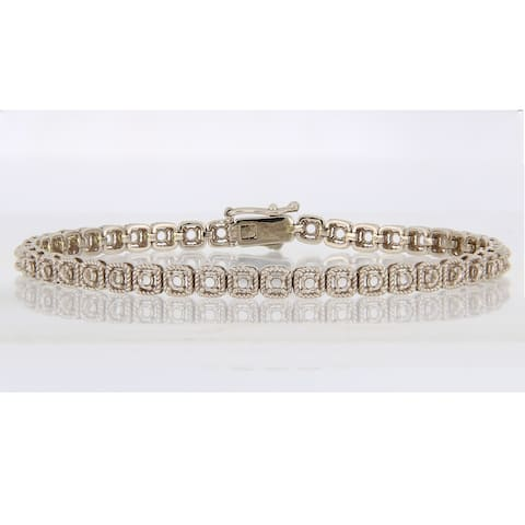 Miadora 14k White Gold 2 2/5ct TDW Diamond Tennis Bracelet