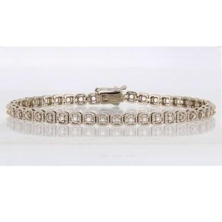 Miadora 14k White Gold 2 2/5ct TDW Diamond Tennis Bracelet