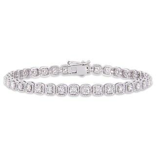 Miadora 14k White Gold 2 3/4ct TDW Diamond Link Tennis Bracelet