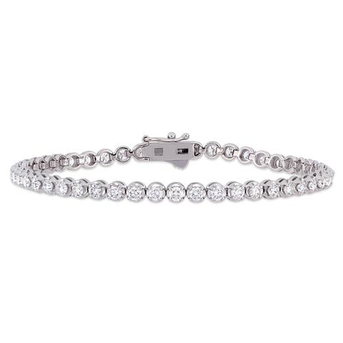 Miadora 14k White Gold 3 1/2ct TDW Diamond Tennis Bracelet