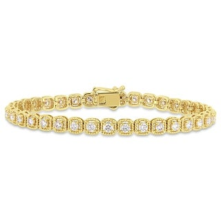 Miadora 14k Yellow Gold 2 3/4ct TDW Diamond Link Tennis Bracelet