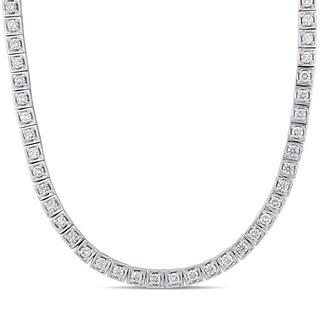 Miadora 14k White Gold 8 3/4ct TDW Diamond Tennis Necklace