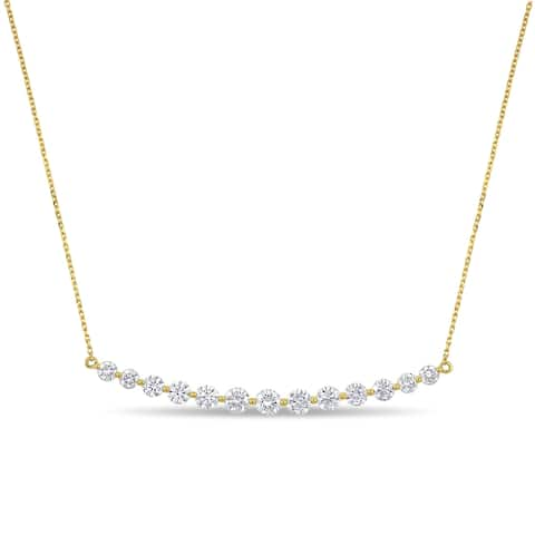 Miadora 14k Yellow Gold 2ct TDW Diamond Graduated Bar Necklace