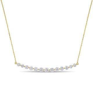 Miadora 14k Yellow Gold 2ct TDW Diamond Graduated Bar Necklace