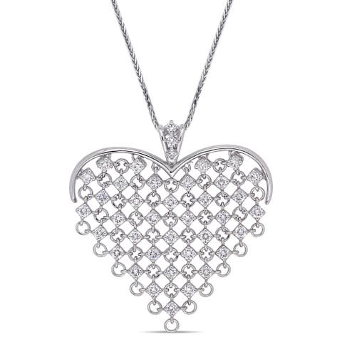 Miadora 14k White Gold 2 1/4ct Diamond Clustered Heart Necklace