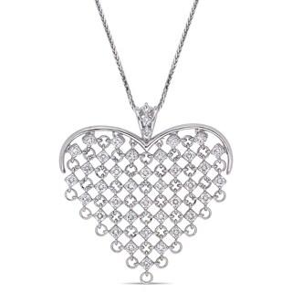 Miadora 14k White Gold 2 1/4ct Diamond Clustered Heart Necklace