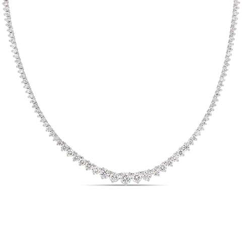 Miadora 18k White Gold 7 1/2ct TDW Diamond Tennis Necklace