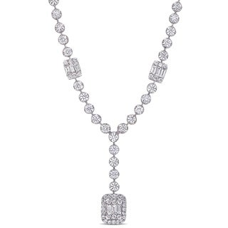 Miadora 14k White Gold 5 3/4ct TDW Round and Parallel Baguette-Cut Diamond Y-Necklace