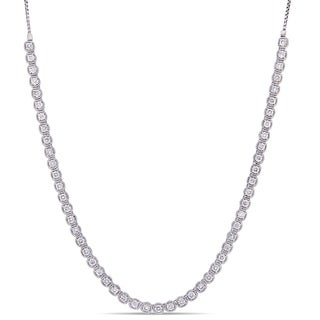 Miadora 14k White Gold 4ct TDW Diamond Adjustable Back-Dangle Necklace