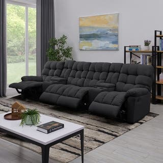 Prolounger Dark Grey Tufted Velvet 4 Seat Recliner Sofa With Storage Console