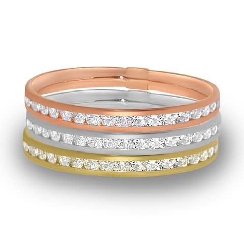 14k Yellow, White or Rose Gold Channel Set Cubic Zirconia Eternity Band
