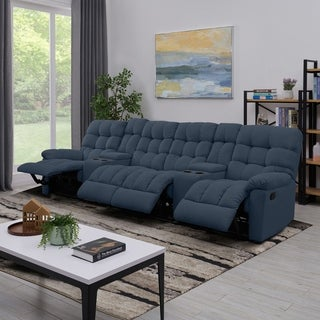 ProLounger Medium Blue Tufted Velvet 4 Seat Recliner Sofa with Power Storage Console