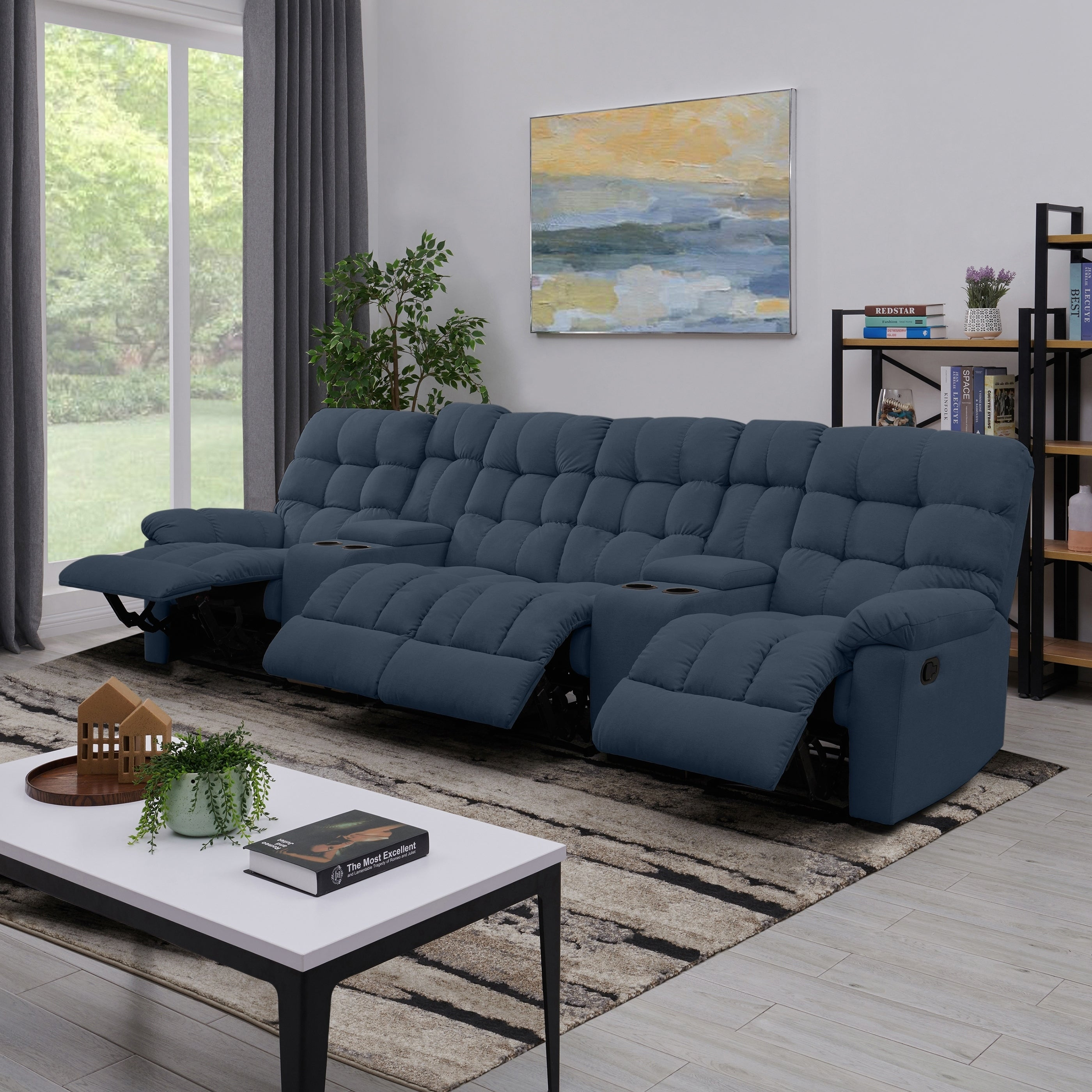 Copper Grove Gramsh Medium Blue Tufted Velvet 4-seat Recliner Sofa with  Power Storage Console