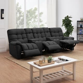 Prolounger Dark Grey Tufted Velvet 3 Seat Recliner Sofa With Storage Console