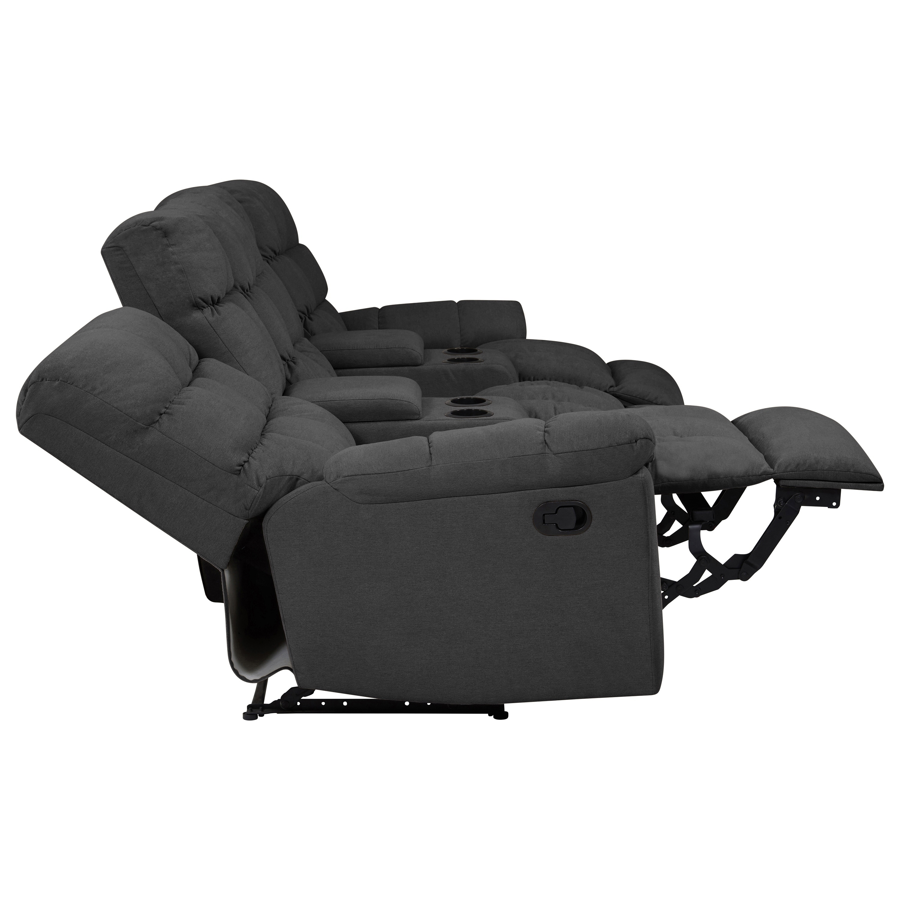 Copper Grove Gramsh Dark Grey Tufted Velvet 3-seat Recliner Sofa with Power  Storage Console