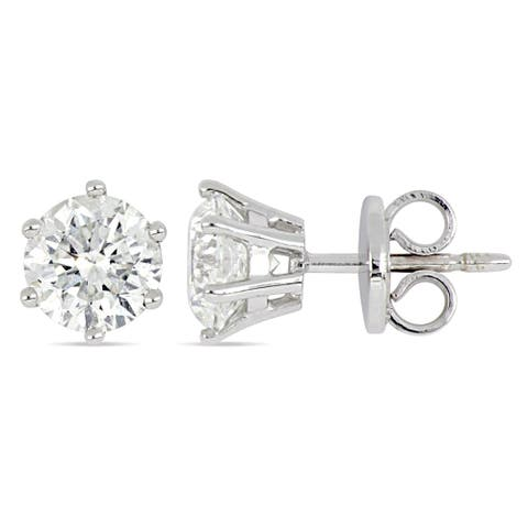 Miadora 18k White Gold 2 3/8ct TDW Diamond Solitaire Stud Earrings