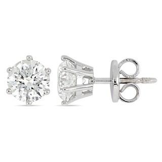 Miadora 18k White Gold 2 3/8ct TDW Diamond Solitaire Stud Earrings