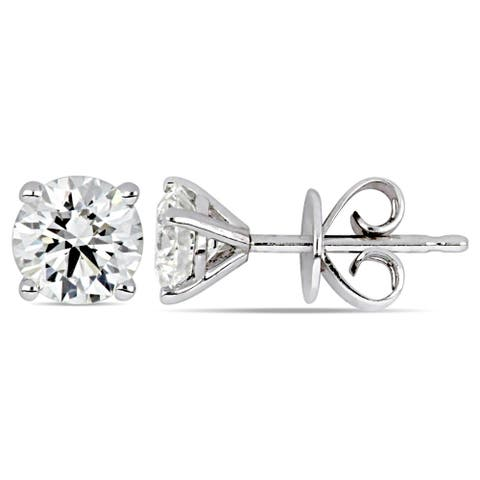Miadora 14k White Gold 7/8ct TDW Certified Diamond Solitaire Stud Earrings (GIA)