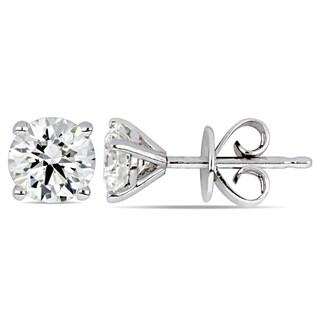 Miadora 14k White Gold 7/8ct TDW Certified Diamond Solitaire Stud Earrings (GIA)