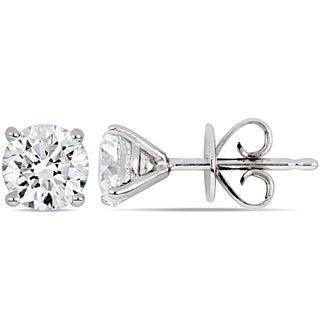 Miadora 14k White Gold 1 3/4ct TDW Certified Diamond Solitaire Stud Earrings (GIA)