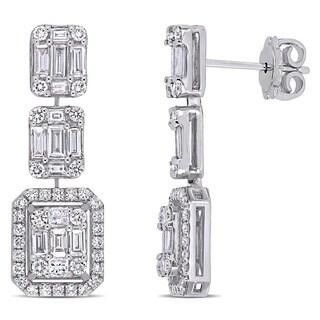 Miadora 14k White Gold 1-3/4ct TDW Diamond Multi-Shape 3-Tier Dangle Earrings
