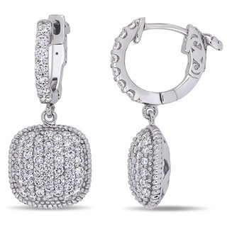 Miadora 14k White Gold 1 3 8ct TDW Diamond Cluster Square Dangle Earrings