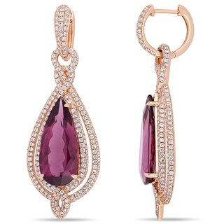 Miadora 14k Rose Gold Rubelite and 2 4/5ct TDW Diamond Teardrop Dangle Earrings