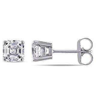 Miadora 14k White Gold 1 1/2ct TDW Asscher-Cut Diamond Solitaire Stud Earrings