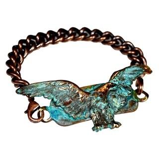 Handmade Patina Brass Eagle Rockband Bracelet-Copper ID Chain (USA)