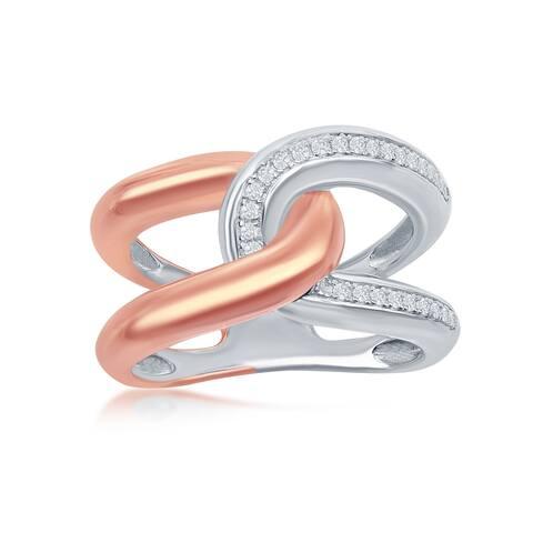 La Preciosa Sterling Silver Two-Tone 14K Rose Gold over Silver Interlocking CZ Ring