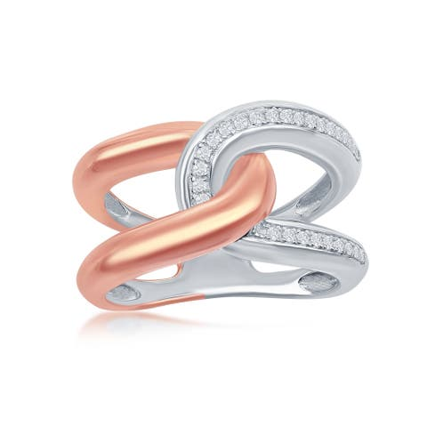 La Preciosa Sterling Silver Two-Tone 14K Rose Gold over Silver Interlocking CZ Ring