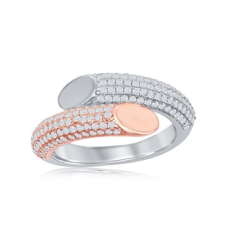 La Preciosa Sterling Silver Two-Toned 14K Rose Gold Plated Micro Pave Bottom Flat Overlapping Rin