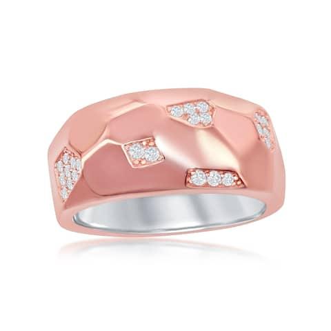 La Preciosa Sterling High Polish Italian Silver Rose Gold Plated Designed Micro Pave Ring