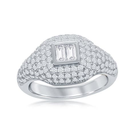La Preciosa Sterling Silver Micro Pave Center Double Baguette Ring