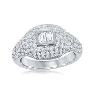 La Preciosa Sterling Silver Micro Pave Center Double Baguette Ring