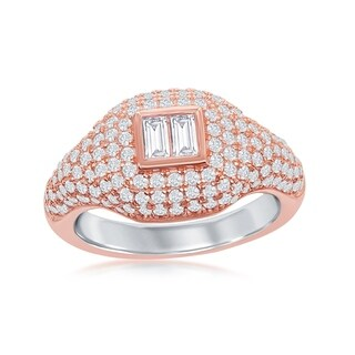 La Preciosa Sterling Silver Rose Gold Plated Micro Pave Center Double Baguette Ring