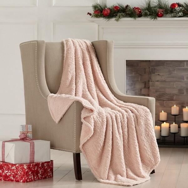 Porch & Den Burdette Sherpa Knitted Plush Solid Throw Blanket