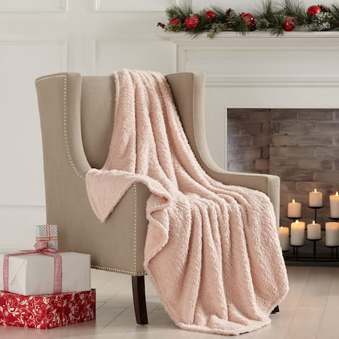 Porch & Den Burdette Sherpa Knitted Plush Solid Throw Blanket